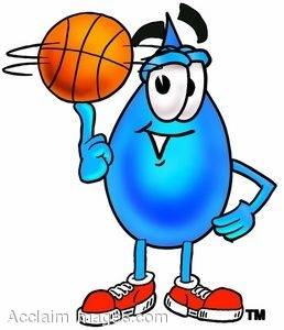 Waterdrop Cartoon Character Spinning a Basketball On His Finger