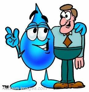 Waterdrop Cartoon Character Standing With a Business Man