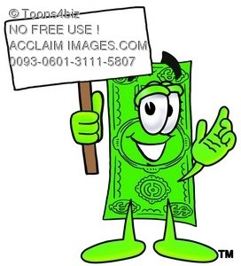 Cartoon Money Character Holding A Sign