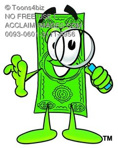 Cartoon Money Character Holding A Magnifying Glass
