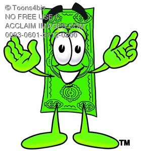Cartoon Dollar Character Holding His Arms Up