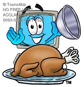 Cartoon Computer Character Lifting Lid To Show Baked Turkey
