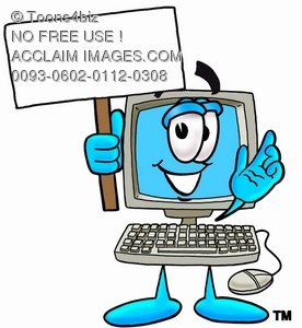 Cartoon Computer Character Holding a Sign While Waving