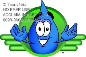 Cartoon Water Drop Character Logo