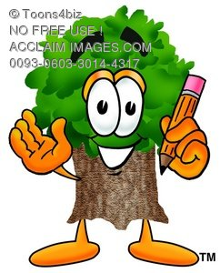 Cartoon Tree Character Holding a Pencil