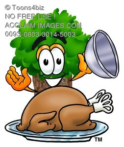Cartoon Tree Character With a Cooked Thanksgiving Turkey