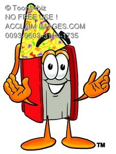 Cartoon Book Character Wearing a Party Hat