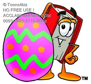 Cartoon Book Character Beside a Painted Easter Egg