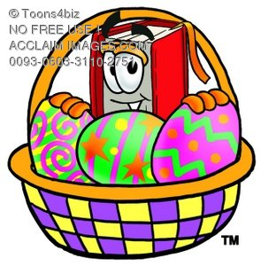 Cartoon Book Character With an Easter Basket Full of Eggs