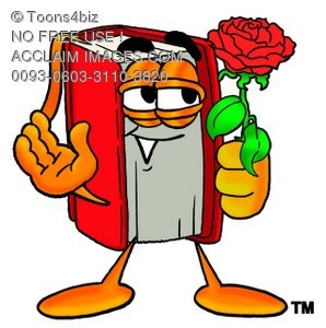 Cartoon Book Character Holding a Red Rose