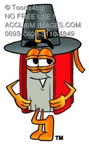 Cartoon Book Character Wearing a Pilgrim Hat