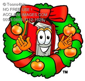 Cartoon Book Character With a Christmas Wreath