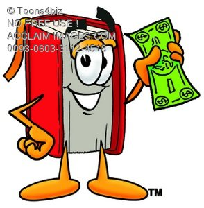 Cartoon Book Character With Money