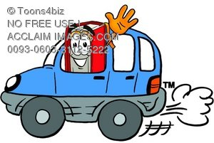 Cartoon Book Character Driving a Car