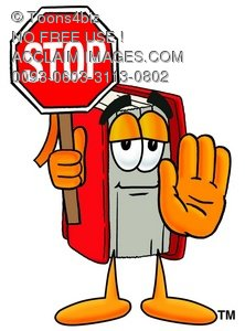 Cartoon Book Character Holding a Stop Sign