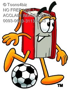 Cartoon Book Character Playing a Game of Soccer