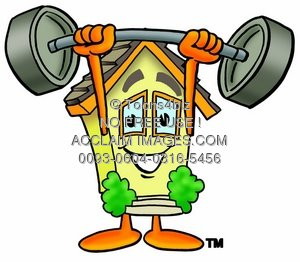 Cartoon House Character Lifting Weights