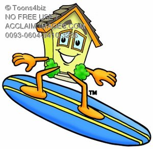 Cartoon House Character Surfing On a Surfboard