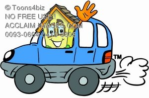 Cartoon House Character Driving a Car and Waving