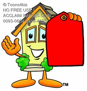Cartoon House Character Holding a Blank Price Tag