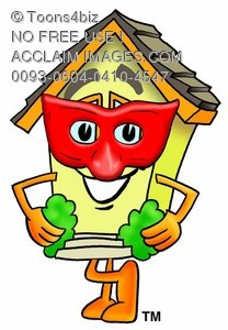 Cartoon House Character Wearing a Mask