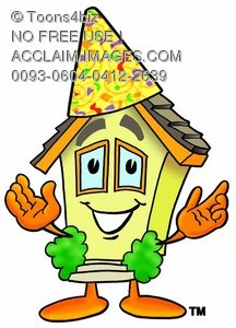 Cartoon House Character Wearing Party Hat