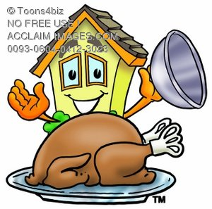 Cartoon House Character With Thanksgiving Turkey