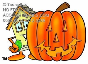 Cartoon House Character With a Halloween Pumpkin