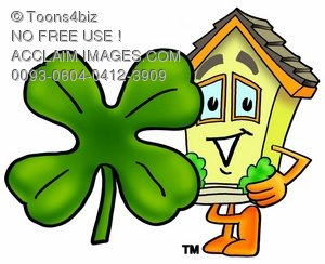Cartoon House Character Standing With a Four Leaf Clover