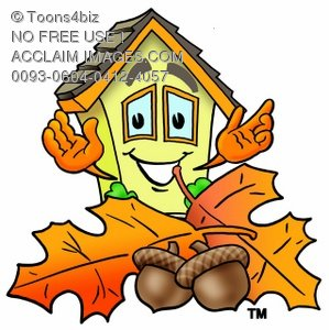 Cartoon House Character With Fall Leaves and Acorns