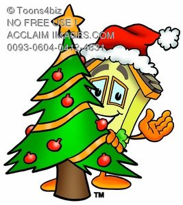 Cartoon House Character Beside a Christmas Tree