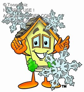 Cartoon House Character With Snowflakes