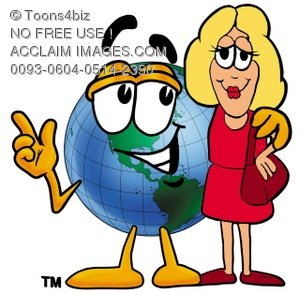 Cartoon Globe Character With a Business Woman