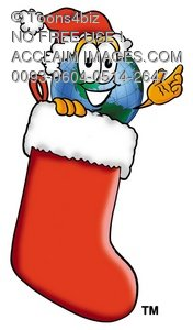 Cartoon Globe Character With a Christmas Stocking