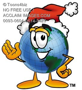 Cartoon Globe Character Wearing a Santa Hat