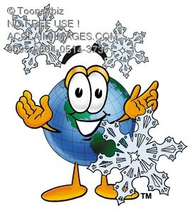 Cartoon Globe Character With Snowflakes
