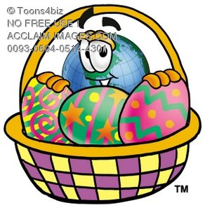 Cartoon Globe Character With an Easter Egg Basket