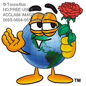 Cartoon Globe Character With a Red Rose Flower