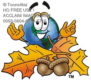 Cartoon Globe Character With Fall Leaves and Acorns