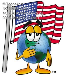 Cartoon Globe Character Saying The Pledge of Allegiance