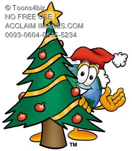 Cartoon Globe Character With a Christmas Tree
