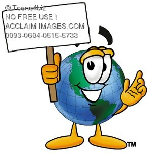 Cartoon Globe Character Holding a Blank Sign