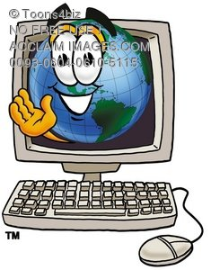Cartoon Globe Character in a Computer