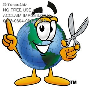 Cartoon Globe Character With Scissors
