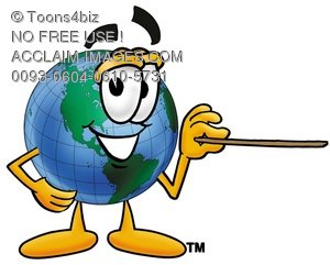 Cartoon Globe Character With a Pointer Stick
