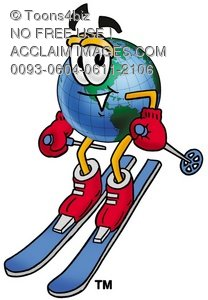 Cartoon Globe Character Winter Skiing
