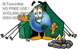 Cartoon Globe Character Camping Beside a Campfire