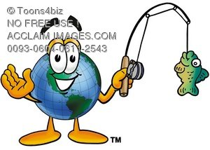 Cartoon Globe Character Fishing