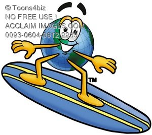 Cartoon Globe Character Surfing