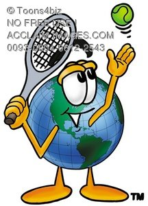 Cartoon Globe Character Playing Tennis